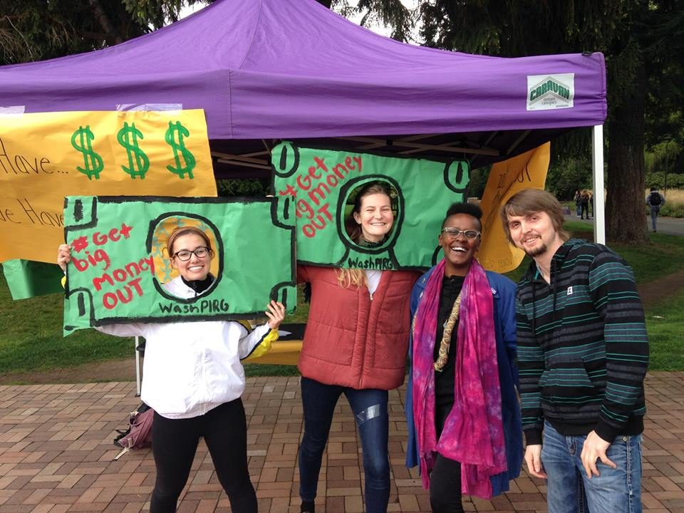 group of people with get big money out dollar bill posters